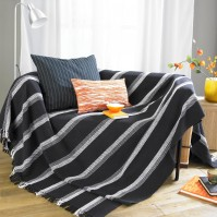 Madrid Stripe Throw Black 90x100&quot;/229x254cm
