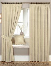 "Marlowe Natural Pencil Pleat Curtains 46x108"" / 117x274cm"