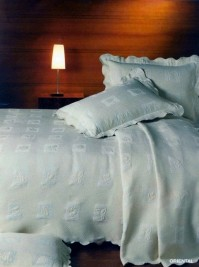 White Oriental Single Bedspread