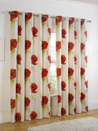 Poppy Floral Eyelet 66x108 Curtains 168x270cm