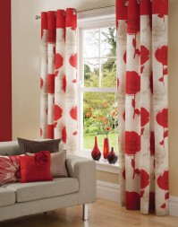 Poppy Faux Silk Eyelet Curtains 229x229cm