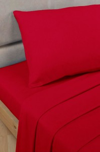 Red Polycotton Percale Single Fitted Sheet