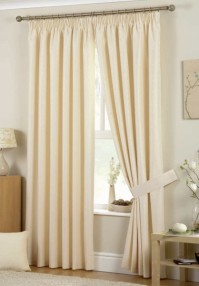 "Hudson Natural Pencil Pleat Curtains 90x90"" / 229x229cm"