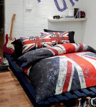 Rock UK Union Jack Bedding Reversible Duvet Cover Set, Single