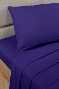 Royal Blue Polycotton Percale Single Flat Sheet
