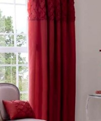 Scrunch Red Pencil Pleat Curtains 66x72&quot;/168x183cm 