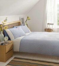 Seersucker Blue Duvet Cover Set King Size 