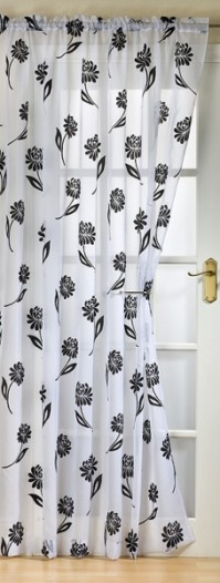Sicily Black and White Flock Voile 145x137cm