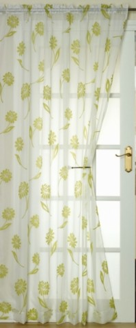 Sicily Lime and White Flock Voile 145x137cm