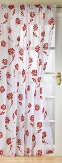 Sicily Red and White Flock Voile 145x183cm