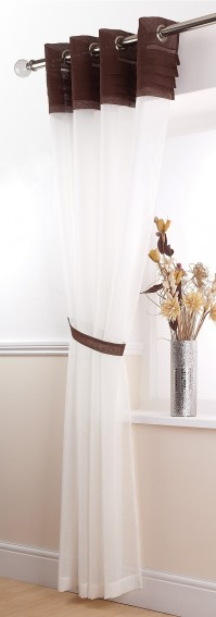 Sienna Chocolate Eyelet Voile Panel 145x137cm