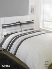 Strada Black Striped Duvet Cover Set, Single