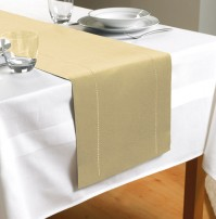 Hem Stitch Cream Table Runner 72&quot;/183cm 