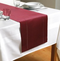 "Hem Stitch Red Table Runner 72""/183cm"