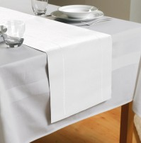 "Hem Stitch White Table Runner 72""/183cm"