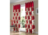 "Harper Red Eyelet Curtains 66x72"" / 168x183cm"