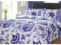 Lydia Blue & Cream Floral Duvet Cover Set, Double