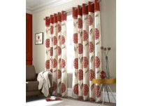 "Allie Red Eyelet Curtains  - 66x72""/168x183cm"