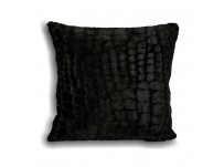 Alligator Faux Fur Cushion Cover Black 45cm