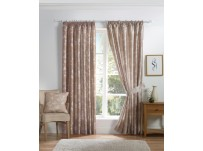 "Anais Leaf Taupe Pencil Pleat Curtains 66x54"" / 168x137cm"