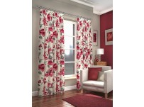 "Camden Red Pencil Pleat Curtains 90x90""/229x229cm"