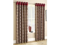 "Cara Red Eyelet Curtains - 66x54""/168x137cm"