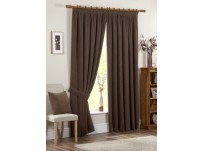 Chenille Spot Chocolate Brown Pencil Pleat Curtains 66x54 / 168x137cm