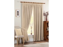 Chenille Spot Cream Pencil Pleat Curtains 66x54 / 168x137cm