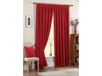 "Chenille Spot Red Pencil Pleat Curtains 66x108"" / 168x274cm"
