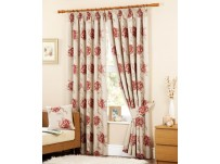 "Cotswold Red Pencil Pleat Curtains 90x90""/229x229cm"