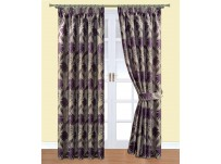 "Delphine Plum Pencil Pleat Curtains - 66x54""/168x137cm"