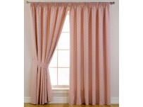 "Dotty Blackout Pencil Pleat Curtains 66x72""/168x183cm - Rose Pink"