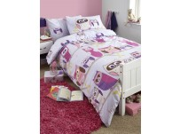 Hoot Lilac Duvet Cover Set, Single