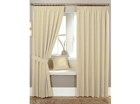 "Marlowe Natural Pencil Pleat Curtains 90x54""/229x137cm"