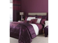 Quilted Damask Plum Duvet Cover Set Double