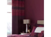 Quilted Damask Plum Pencil Pleat Curtains
