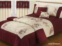 Rose Blossom Wine &amp; Ivory Duvet Cover Set Single