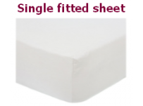 White Polycotton Percale Single Fitted Sheet