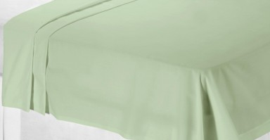 Soft Green Polycotton Percale Super King Flat Sheet 