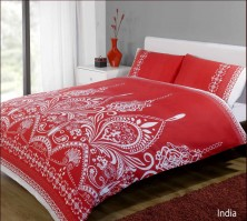 India Red Duvet Cover Set, King Size