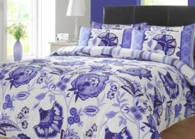 Lydia Blue and Cream Floral Duvet Cover Set, King Size