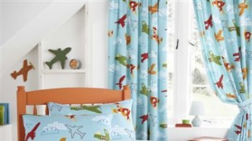 "Aeroplanes Pencil Pleat Curtains 66x72""/168x183cm"