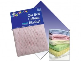 Blue Cot Bed Cotton Cellular Blanket