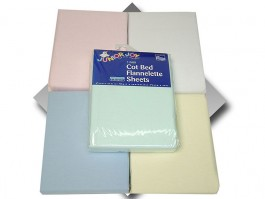 Blue Flat Flannelette Cot Bed Sheets (pair)
