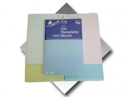 Blue Cot Size Flat Flannelette Sheets (pair)