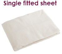 Cream single fitted flannelette sheet