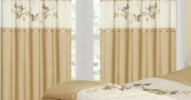 "Hannah Natural Pencil Pleat Curtains 66x72""/168x183cm"