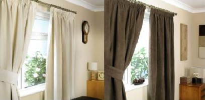 "Hobart Black Faux Suede Pencil Pleat Curtains 66x90""/168x229"
