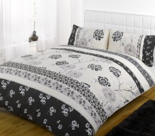Lola Monochrome Oriental Flower Duvet Cover Set, Double