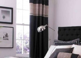 Luxury Geo Black Pencil Pleat Curtains 66x72""